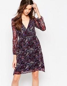Платье с длинными рукавами, запахом спереди и принтом пейсли Diya - Фиолетовый