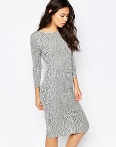 Платье миди с черно-белым принтом Madam Rage - Кремовый