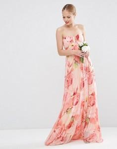 Платье-бандо макси из сетки с цветочным принтом ASOS WEDDING - Мульти