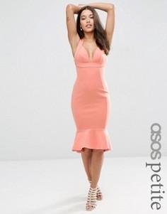 Облегающее платье миди с широкими бретельками ASOS PETITE - Розовый