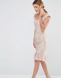 Кружевное платье с широким вырезом и складками на подоле Paper Dolls - Розовый
