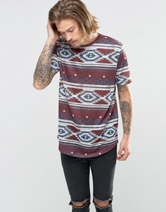 Удлиненная футболка в льняном стиле с ацтекским принтом ASOS - Красный