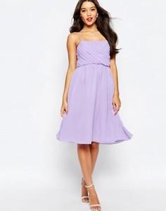 Платье миди с присборенным лифом ASOS WEDDING - Фиолетовый