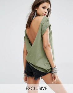 Винтажная oversize-футболка с потертостями и открытой спиной Milk It - Зеленый