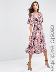 Розово-серое мягкое платье‑футляр миди с принтом ирисов ASOS TALL - Мульти