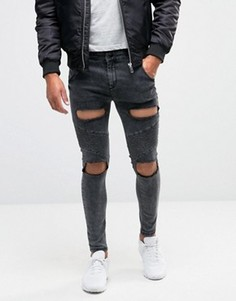 Байкерские джинсы скинни с рваной отделкой SikSilk - Черный