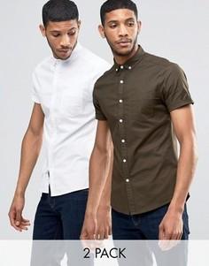 2 приталенных оксфордских рубашки (белая, хаки) ASOS - СКИДКА 16 - Мульти