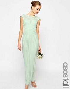 Платье макси с кружевным топом и плиссировкой ASOS TALL WEDDING - Зеленый