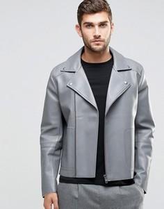 Серая байкерская куртка из искусственной кожи с необработанными краями ASOS - Серый