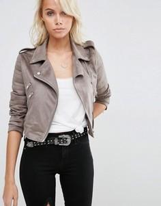 Байкерская куртка из искусственной замши ASOS - Серый
