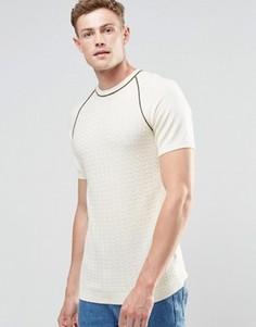 Бежевая фактурная трикотажная футболка ASOS - Кремовый