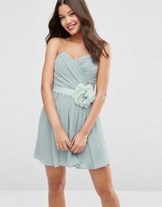 Шифоновое платье‑бандо мини со съемным цветочным украшением ASOS WEDDING - Серый