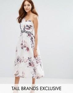 Короткое приталенное платье на одно плечо с цветочным принтом Little Mistress Tall - Мульти