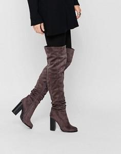 Сапоги-ботфорты на блочном каблуке Public Desire - Серый