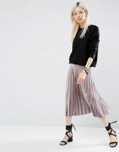 Плиссированная вельветовая юбка миди ASOS - Серебряный
