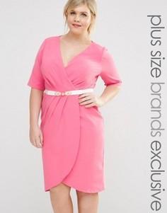 Платье-футляр с запахом, рукавами 1/2 и поясом Paper Dolls Plus - Розовый