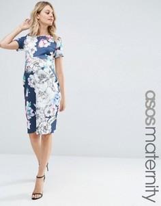 Темно-синее платье для беременных с цветочным принтом ASOS Maternity - Мульти