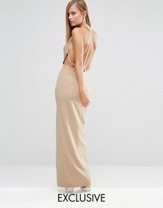 Платье макси с отделкой искусственным жемчугом сзади Fame and Partners - Бежевый