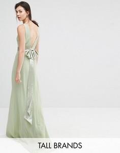 Платье макси с атласным бантом сзади TFNC Tall Wedding - Зеленый