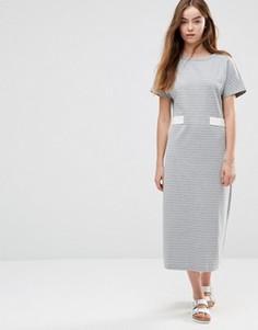 Платье миди в полоску с отделкой в виде пояса Shades of Grey - Серый