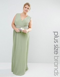 Плиссированное платье макси с запахом TFNC Plus Wedding - Зеленый