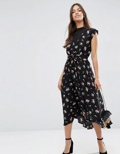 Чайное платье миди с шифоновой вставкой и цветочным принтом ASOS - Мульти