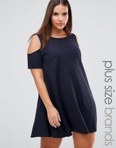 Свободное платье с открытыми плечами AX Paris Plus - Темно-синий