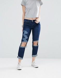 Облегающие джинсы с дырками на коленях Glamorous - Синий