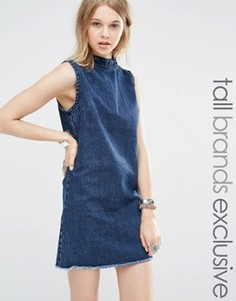 Джинсовое цельнокройное платье без рукавов Glamorous Tall - Синий
