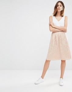 Фактурная юбка миди Vila - Розовый