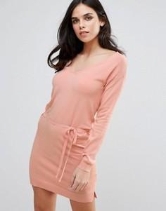 Розовое платье с поясом на талии Lavand - Розовый