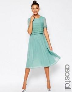 Платье миди для выпускного с кружевным кроп‑топом ASOS TALL SALON - Зеленый
