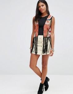 Вельветовая мини-юбка на пуговицах Glamorous - Кремовый