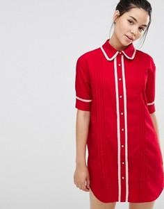Платье-рубашка с отделкой Sister Jane - Красный