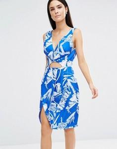 Голубое платье с V-образным вырезом Stylestalker - Синий