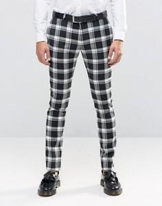 Эластичные супероблегающие брюки в монохромную клетку Noose & Monkey - Черный