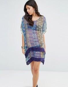 Шелковое асимметричное свободное платье с принтом Gypsy 05 - Синий