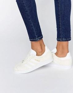 Светло-бежевые замшевые кроссовки adidas Originals Gazelle - Белый