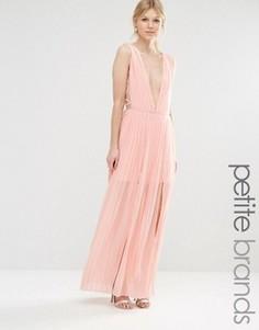 Платье макси со складками и глубоким вырезом Boohoo Petite - Розовый