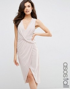 Сетчатое платье‑футляр миди с отделкой спереди ASOS TALL - Розовый