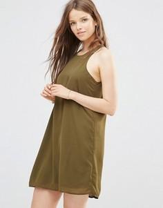 Платье оливкового цвета со спинкой-борцовкой JDY - Зеленый