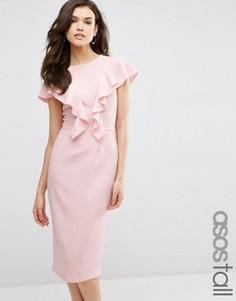 Платье с рюшами спереди ASOS TALL - Розовый