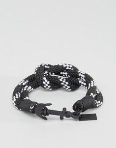Плетеный браслет в полоску с якорем Icon Brand - Черный