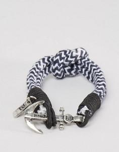 Темно-синий плетеный браслет в полоску с якорем Icon Brand - Темно-синий