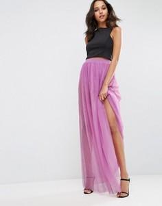 Полупрозрачная юбка макси с короткими шортами ASOS - Фиолетовый