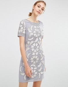 Бархатное цельнокройное платье Frock and Frill - Серый