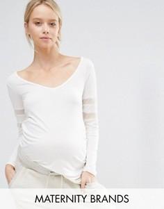 Трикотажный домашний топ с сетчатыми вставками Bluebelle Maternity - Белый