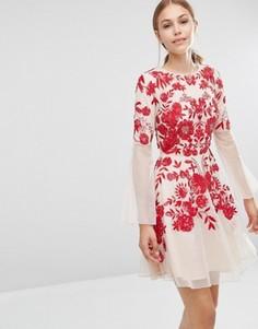 Приталенное платье с вышивкой Frock and Frill - Розовый