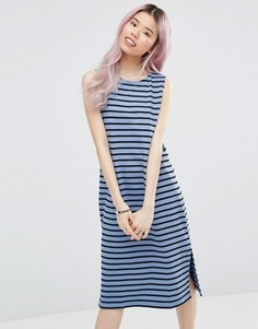 Полосатое платье миди без рукавов Ganni Old Spice - Синий
