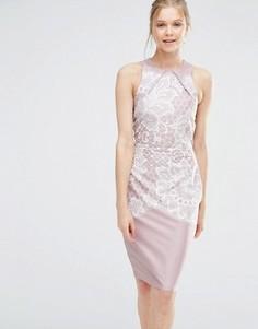 Облегающее платье с кружевным принтом Closet - Мульти